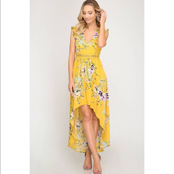 551fc991daed Mustard Floral Print Hi-Low Maxi with Open Back